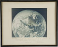 Explorers:Space Exploration, Charlie Duke Signed Large Apollo 16 Photo of Earth from Space. ...