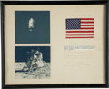 Explorers:Space Exploration, Apollo 14 Lunar Module Flown American Flag, Presented by MissionCommand Module Pilot Stuart Roosa....