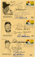 Baseball Collectibles:Others, First Day Covers Signed By 18 Hall Of Famers Lot of 3.... (Total: 3items)