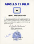 Explorers:Space Exploration, Apollo 11 Lunar Module Flown Camera Film on a Certificate Signed by Buzz Aldrin....