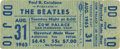 Music Memorabilia:Tickets, Beatles Cow Palace Used Ticket (1965)....