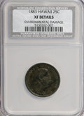 Coins of Hawaii, 1883 25C Hawaii Quarter--Environmental Damage--XF40 NCS. XFDetails. NGC Census: (5/734). PCGS Population (31/1293). Mi...
