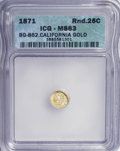 California Fractional Gold: , 1871 25C Liberty Round 25 Cents, BG-862, High R.6, MS63 ICG. NGCCensus: (0/1). PCGS Population (1/4). (#10723)...