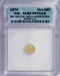 California Fractional Gold: , 1870 25C Liberty Octagonal 25 Cents, BG-763, LowR.4,--Scratched--ICG. AU55 Details. NGC Census: (0/17). PCGSPopulation (1...