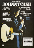 "Music Memorabilia:Posters, Johnny Cash Dusseldorf Germany Concert Poster (1975). 23.5"" x33.25""...."