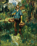 Fine Art - Painting, Russian, EVGENY IVANOVICH KAMZOLKIN (Russian, 1885-1957). Retired GeneralCollecting Mushrooms. Oil on canvas. 18 x 14-3/4 inches...