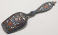 Silver Flatware, Continental:Flatware, A RUSSIAN CLOISONNÉ ENAMEL AND SILVER GILT SCOOP. Unidentifiedmaker, Moscow, Russia, circa 1889-1908. Marks: 84, (left ...