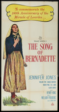 "Movie Posters:Drama, The Song of Bernadette (20th Century Fox, R-1958). Three Sheet (41"" X 81""). Drama...."
