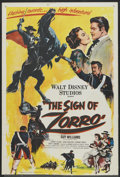 "Movie Posters:Adventure, The Sign of Zorro (Buena Vista, 1960). One Sheet (27"" X 40""). Adventure...."