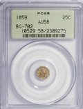 California Fractional Gold: , 1859 25C Liberty Octagonal 25 Cents, BG-702, R.3, AU58 PCGS. PCGSPopulation (5/165). NGC Census: (2/34). (#10529)...