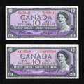 Canadian Currency: , BC-40a $10 1954 Modified Portrait Two Examples.. ... (Total: 2notes)