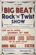 "Music Memorabilia:Posters, Screamin' Lord Sutch Civic Hall Exeter Concert Poster (T. V. Shows,1962) 20"" x 30""...."