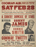 Music Memorabilia:Posters, Conway Twitty, Sonny James and Connie Smith Concert Poster (CochranAud., 1959)....