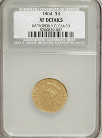 1864 $3 --Improperly Cleaned--NCS. XF Details....(PCGS# 7985)