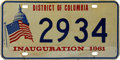 Movie/TV Memorabilia:Memorabilia, Glenn Ford's 1961 Inauguration License Plate....