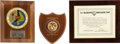 Movie/TV Memorabilia:Awards, Glenn Ford's US Marine Corps Plaques.... (Total: 3 Items)