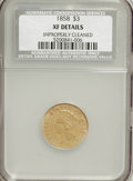 1858 $3 --Improperly Cleaned--NCS. XF Details....(PCGS# 7978)