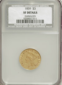 1859 $3 --Damaged--NCS. XF Details....(PCGS# 7979)