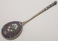 Silver Holloware, Continental:Holloware, A RUSSIAN CLOISONNÉ ENAMEL AND SILVER GILT SPOON. Gustav Klingert,Moscow, Russia, 1892. Marks: 84, AA (over) 1892,GK...