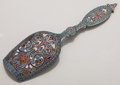 Silver Flatware, Continental:Flatware, A RUSSIAN CLOISONNÉ ENAMEL AND SILVER GILT SCOOP. Unknown maker, Moscow, Russia, circa 1890. Marks: 84, (Moscow). 4-3/4 ...