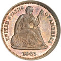 Patterns, 1863 H10C Half Dime, Judd-323, Pollock-388, R.7, PR65 Red and BrownNGC....