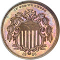 Patterns, 1866 5C Shield Five Cents, Judd-495, Pollock-582, High R.7, PR64Brown NGC....