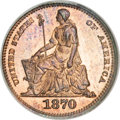 Patterns, 1870 H10C Half Dime, Judd-818, Pollock-907, Low R.7, PR67 Red and Brown NGC....