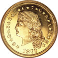 Proof Four Dollar Gold Pieces, 1879 $4 Flowing Hair, Judd-1635, Pollock-1833, R.3, PR64 ★ Cameo NGC....