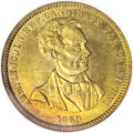 U.S. Presidents & Statesmen, 1860 Lincoln Brass Campaign Medal MS65 NGC....