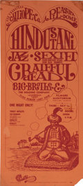 "Music Memorabilia:Posters, Hindustani Jazz Sextet/Grateful Dead/Big Brother and the HoldingCompany Fillmore Concert Handbill 6.25"" x 14"" (S.F. Calliope ..."