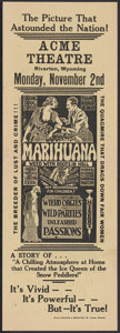 "Movie Posters:Cult Classic, Marihuana (Roadshow Attractions, 1936). Herald (6"" X 17""). CultClassic...."