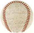 Autographs:Baseballs, 1967 Cincinnati Reds Team Signed Baseball. The ONL (Giles) orboffered here dons the signatures of no less than 26 from the...