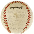 Autographs:Baseballs, 1974 New York Mets Team Signed Baseball. Yogi Berra's squad from1974 is represented by this collection of 30 signatures fr...