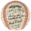 Autographs:Baseballs, 1991 Baseball Hall of Fame Multi-Signed Baseball. From the 1991Baseball Hall of Fame ceremonies in Cooperstown we offer th...