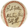 Autographs:Baseballs, New York Old Timers Multi-Signed Baseball. A total of thirteen ofGotham's past heroes have checked in on the toned OAL (Ma...
