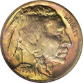 1938-D 5C MS68 ★ NGC. A sensory overload, the obverse is deeply toned in shades of orange, plum, yellow, magenta, and bl...
