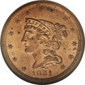 Half Cents: , 1851 1/2 C MS62 Red NGC. C-1, B-1, R.1. Full red 1851 half centsare very scarce. Only one die marriage was struck for circ...