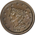 Proof Braided Hair Half Cents: , 1849 1/2 C Small Date PR45 NGC. Large Berries. Breen-1, Low R.7.The production of half cents for circulation resumed in 18...