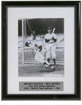 Autographs:Photos, Mickey Mantle & Bill Dickey Signed Photograph. Scarce image isthe first example we've seen. A young Mick lays down a bunt...