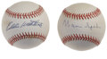 Autographs:Baseballs, Warren Spahn and Eddie Mathews Single Signed Baseballs Lot of 2.Each of these Braves Hall of Famers has provided a sweet s...