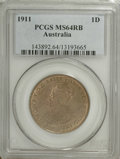 Australia: , Australia: George V Penny 1911, KM23, MS64 Red & Brown PCGS, ahighly lustrous example....