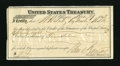 Miscellaneous:Other, St. Louis, MO- United States Treasury Check. This duplicate 1862check for $78.89 grades Very Fine. A small edge split i...