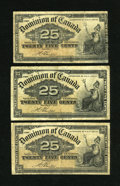 Canadian Currency: , DC-15b 25¢ 1900 Three Examples.. All three of these notes gradeVery Good or better.. ... (Total: 3 notes)