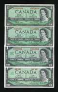 Canadian Currency: , $1 Canadian Notes including BC-37a in AU; BC-37bA in CU; BC-45a inCU; and BC-45b-i in CU.. The BC-37bA note... (Total: 4 notes)