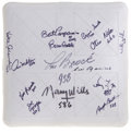 Autographs:Others, 500 Stolen Base Club Multi-Signed Base. This impressive collectiblebrings the signatures of a total of fourteen of the top...