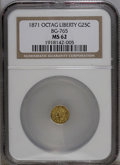 California Fractional Gold: , 1871 25C Liberty Octagonal 25 Cents, BG-765, R.3, MS62 NGC. NGCCensus: (4/7). PCGS Population (72/88). (#10592)...