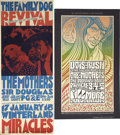 """Music Memorabilia:Posters, The Mothers Concert Poster, Group of 2 (1967-69) 10.75"""" x 27.25"""" to13.5"""" x 22.5""""...."""