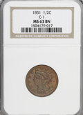 Half Cents: , 1851 1/2 C MS63 Brown NGC. C-1. NGC Census: (81/78). PCGSPopulation (58/27). Mintage: 147,672. Numismedia Wsl. Price for ...