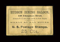 Fractional Currency:First Issue, Postage Envelope - 25¢ Hudson Dining Saloon, New York City.. ...