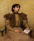 Paintings, FERDINAND BASSOT (French, active 1860-1900). Portrait of a Lady Reading. Oil on canvas. 22-1/2 x 18-3/4 inches (57.2 x 4...
